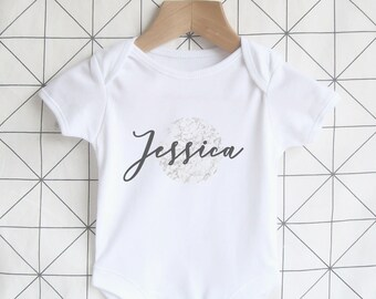 Personalised Baby Name Bodysuit - Marble, Newborn Baby Onesie, Coming Home Outfit, Birth Announcement, Modern Baby Clothing, Unisex, Gift