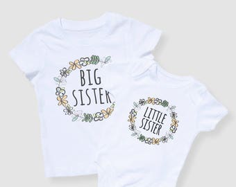 Sister Set - Big Sister Tshirt, Little Sister Onesie, New Baby Gift, Baby Gift, Baby Shower Gift, Sibling Shirts, Coming Home Outfit, Floral