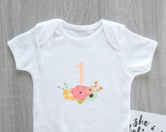 Floral 1st Birthday Onesie - First Birthday Bodysuit, Baby Girl, Girl's 1st Birthday, Daughter Birthday, Cake Smash Outfit, Party Onesie