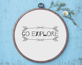 Go Explore Print - Wall Art / Hoop Art / Art Print / Adventure / Simple Decor / Nursery Decor / Quote Print / Baby Shower Gift / Arrow