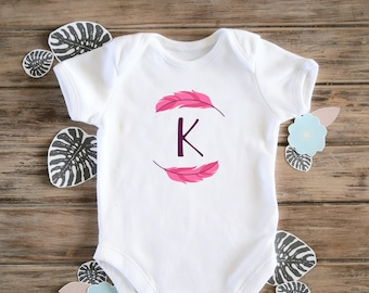 Personalised Girl's Baby Bodysuit, Boho Baby Onesie, Cute, Baby Name Gift, Baby Girl Clothing, Coming Home Outfit, New Baby Gift, Feather
