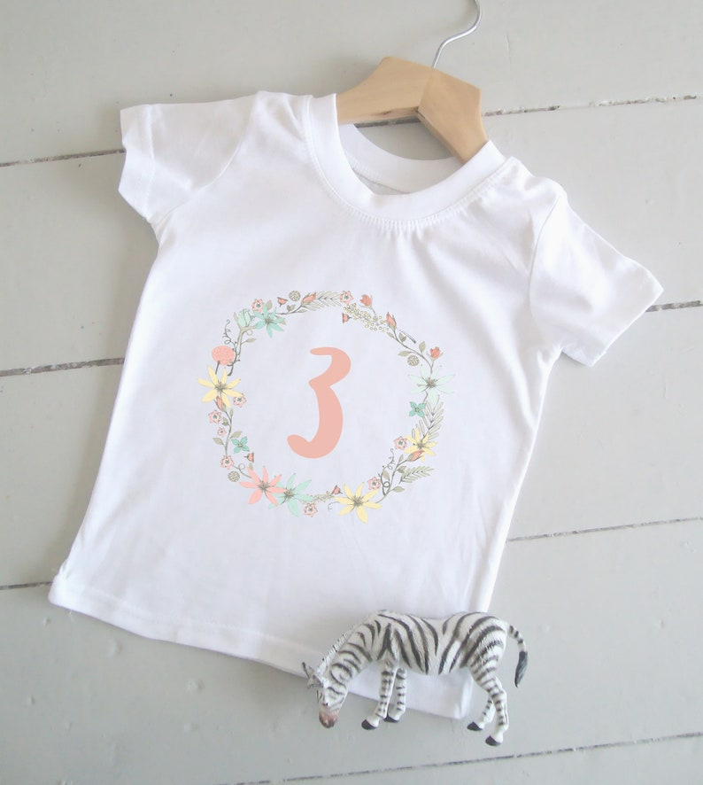Cotton Girl's 3rd Birthday Shirt Three Today Tshirt 3 image 0