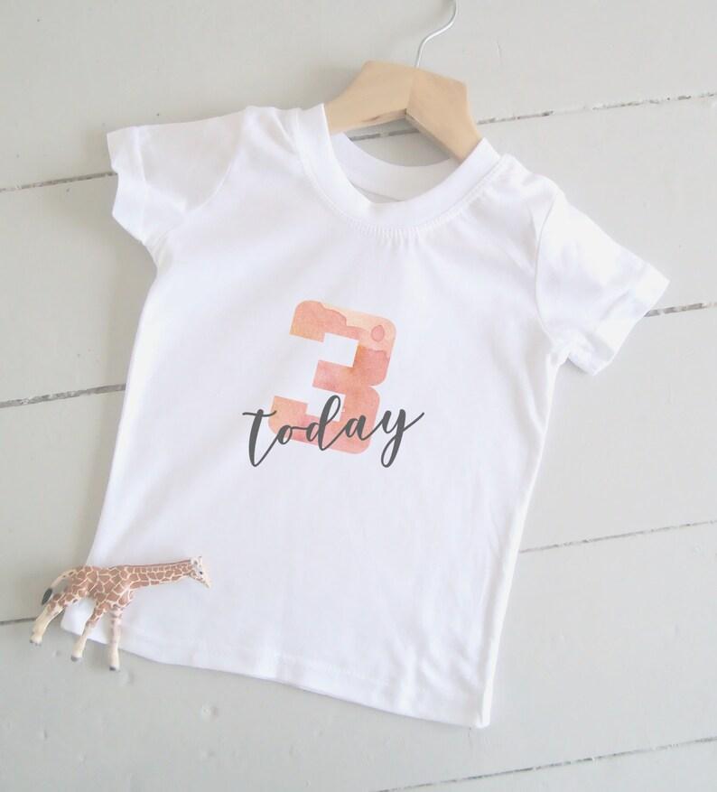 Girl's 3rd Birthday T-Shirt Age 3 Shirt 3 Today. image 0