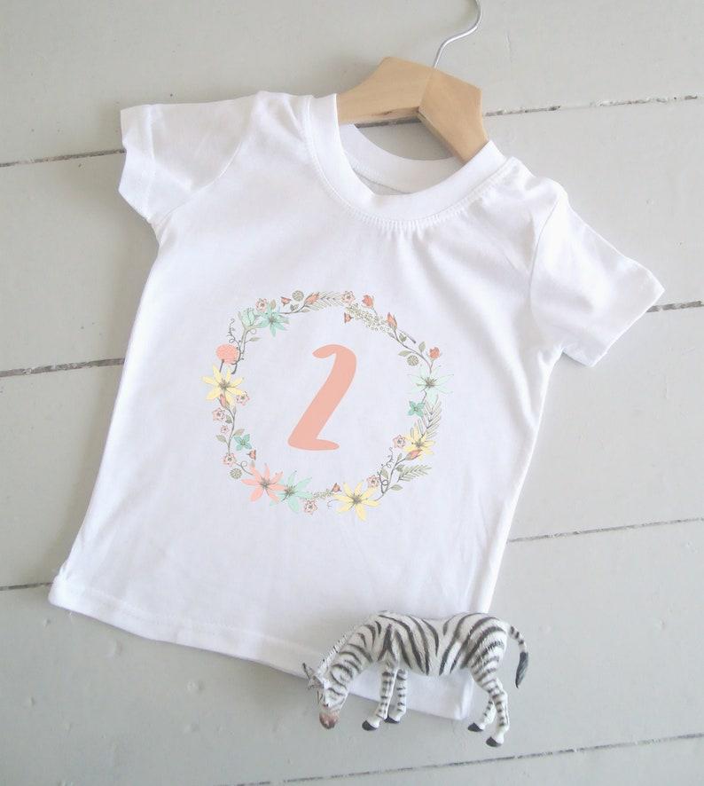Floral Age 2 Birthday Tshirt Girls 2nd Birthday Shirt Summer image 0