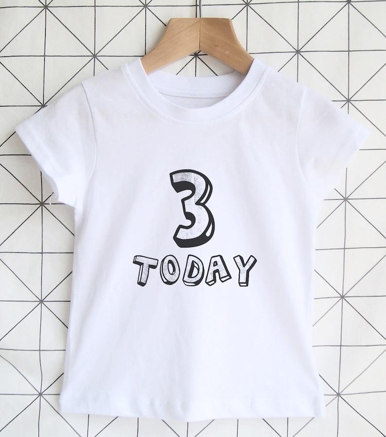 Modern 3 Today Tshirt 3rd Birthday Shirt Age 3 Kids Birthday image 0