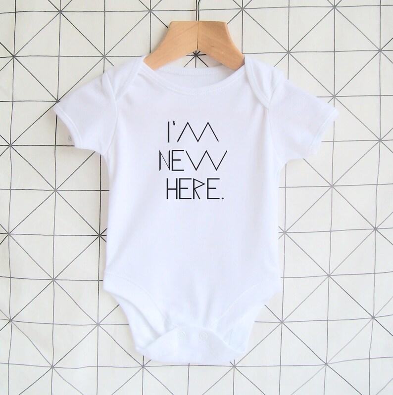 af12455ab40 I m New Here Baby Vest Newborn Bodysuit Coming Home
