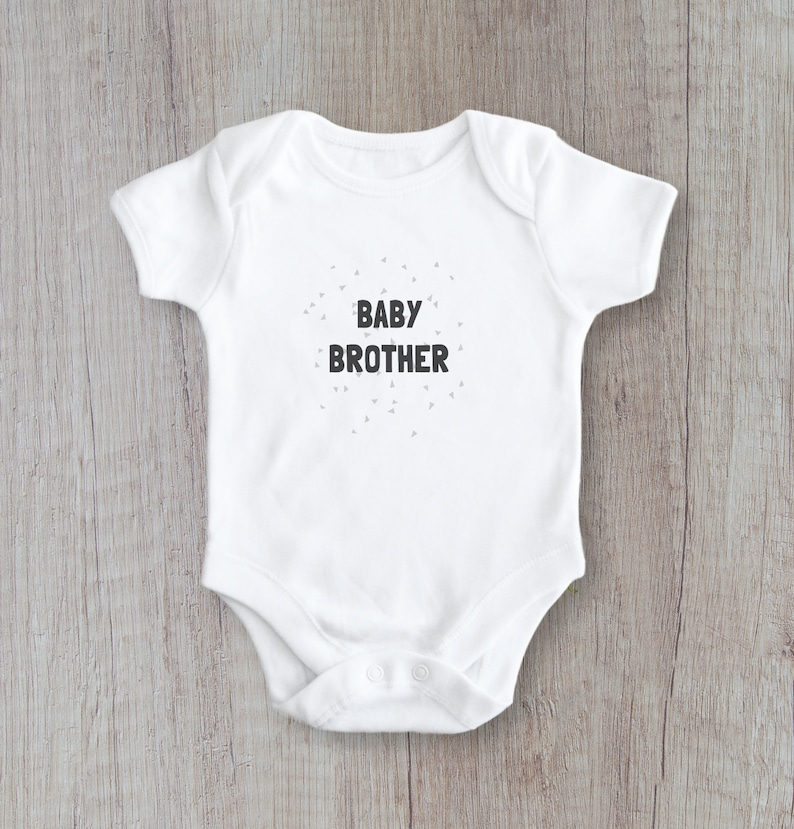 New Baby shirt Sibling Gift Little Brother Family Photo Prop Black and Grey Modern Minimal Baby Brother Bodysuit Birth Announcement
