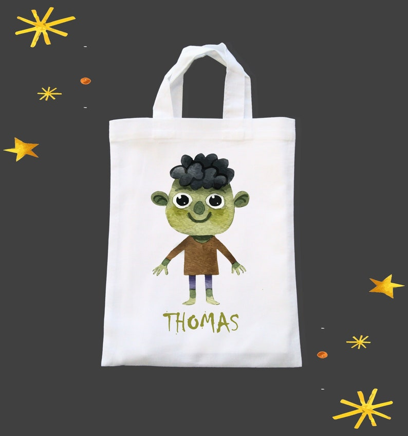 Personalised Kid's Cotton Halloween Trick or Treat Bag  image 0