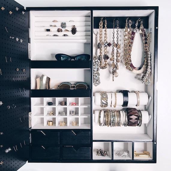 Negro pared montada joyas organizador marco espejo no | Etsy