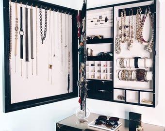 "Black - ""Mirror"" Frame Wall Mounted Jewelry Organizer"