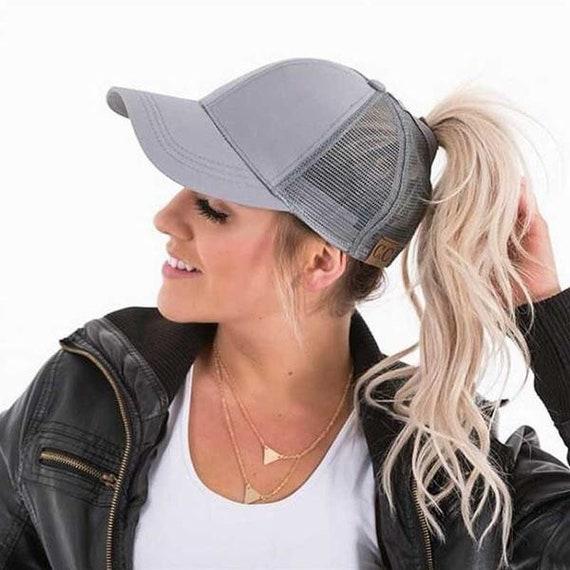 e2c99504af7 CC Hat Rhinestones Messy Bun Hat Trucker Hat Ponytail