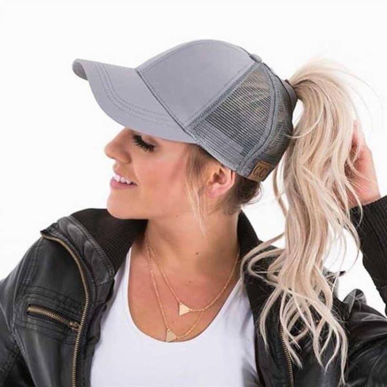 31be0d05 CC Hat Rhinestones Messy Bun Hat Trucker Hat Ponytail | Etsy