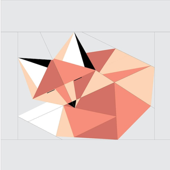 Sleeping Fox Paper Piecing Pattern 16 X 16 Quilt Etsy