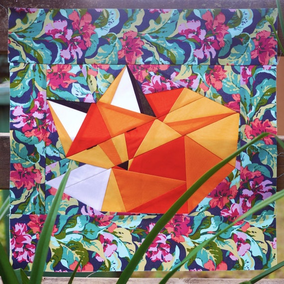 Quilten Paper Piecing.Sleeping Fox Paper Piecing Pattern 16 X 16 Quilt Block Digital Pdf