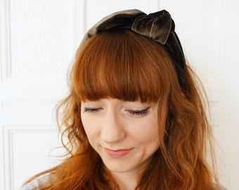 Hair Hoop Hairband Knot Velour Dark Brown