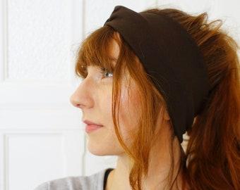 Turban Twisted Headband Retro Brown Flowers