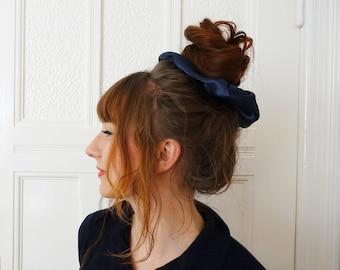 XXL Scrunchie Satin dark blue handmade ponytail hair accessory 80s