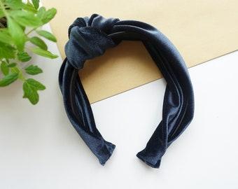 Hair Hoop Hairband Knot Velour Midnight Dark Blue