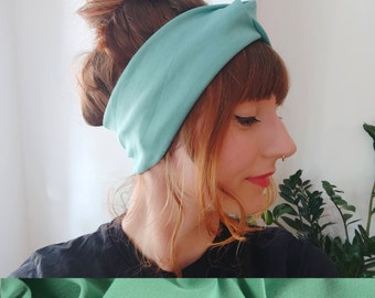 Headband Turban Retro Jade Turquoise Knit Jersey