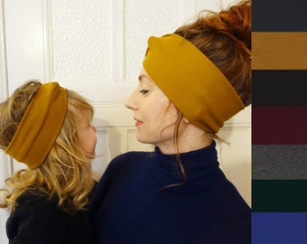 Mum & Daughter Matching Headbands MANY Colours Knitted Jersey