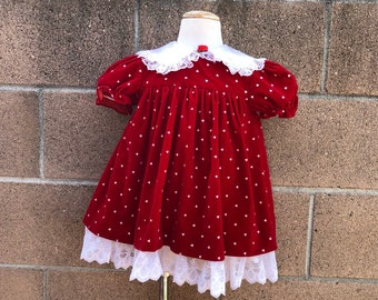 4f3f122e89d0 Vintage Jo Lene Memories Holiday Dress Red Velvet Hearts Sz 18-24M