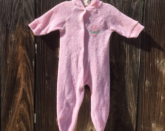 da525c33cc5c VTG JCPenny Toddle Time Pink Hippo Tutu Sleeper NewBorn Terry Cloth