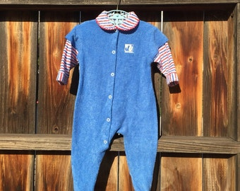 22894650f VTG Jog Togs Baby Sleeper Terry Cloth Red White Blue Sz 3M