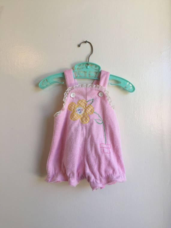 VTG Baby Girl Romper Pink Terry Cloth Sun Suit Sz