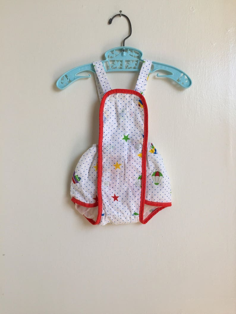 Vintage Polar Infantswear Romper Sun Suit Plastic Pants Sz 0-6M