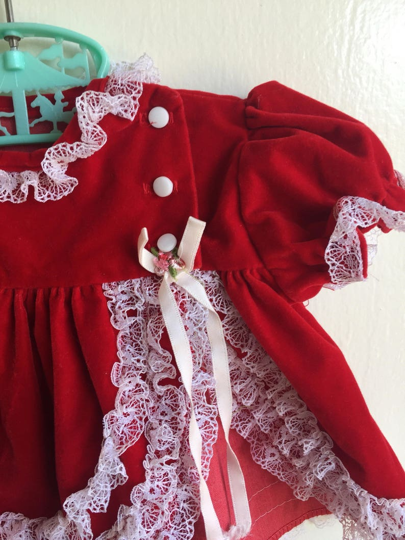 VTG Cutest One Christmas Holiday Dress Red White Velvet Sz 0-6M