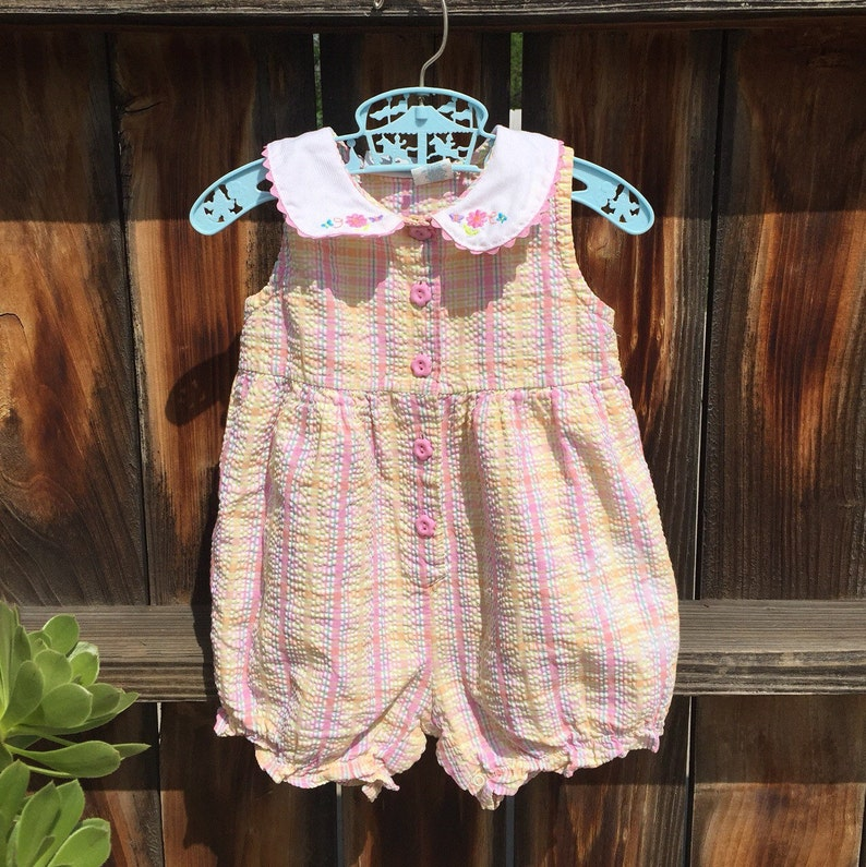 930b640a6de Carter s baby Girl Romper shorts pink gingham Sz 18 months