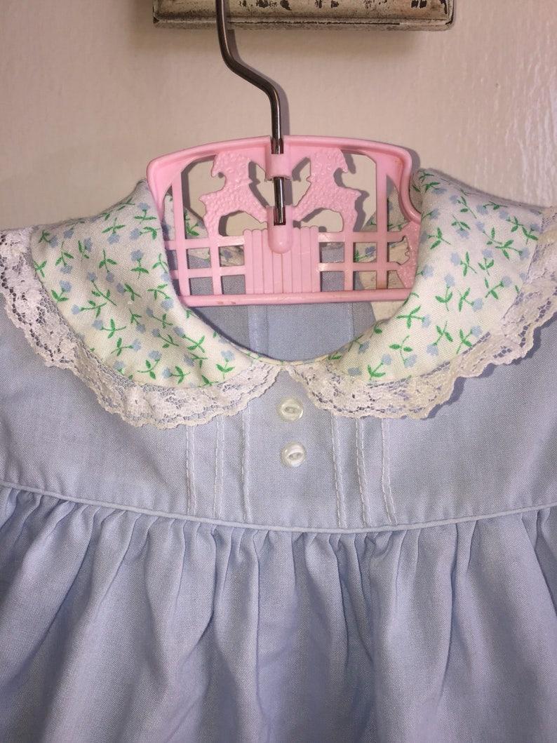 VTG Baby Girl Dress Blue Embriodered Flowers Sz 12M