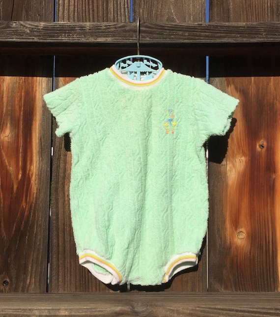 JCPennys Toddle Time Baby Romper Pastal Green Terr
