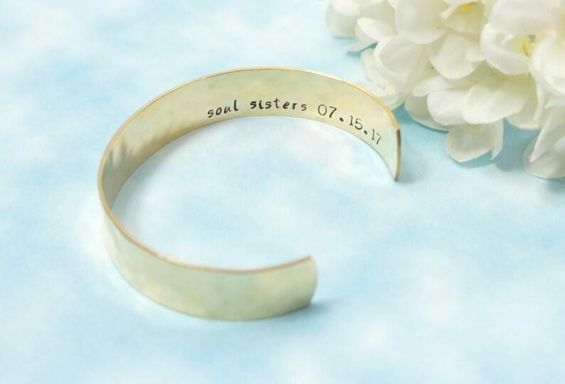 a8e31f034ca3e soul sisters Bracelet. Custom Message. Hidden Message. Personalized  Bracelet. Gold Cuf. Best Friends Gift. BFF. Friendship. Quote Jewelry.