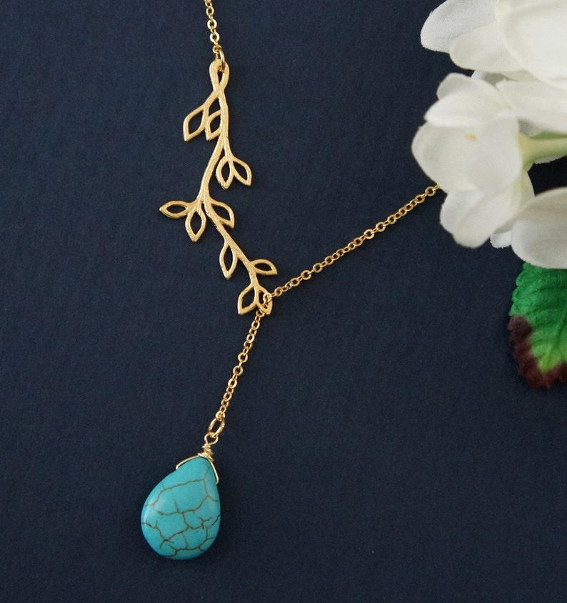Multi Branch With Turquoise Necklace Leaf Necklace. Bridemaid Gift