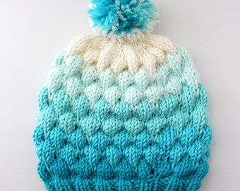 Bubble Beanie Knitting Pattern Adult Size - PDF Download