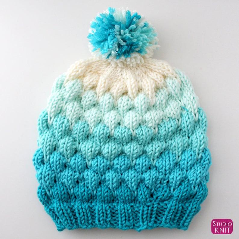 Bubble Beanie Knitting Pattern Adult Size  PDF Download image 1