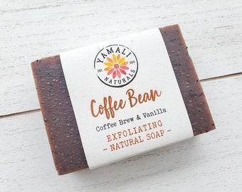 COFFEE BEAN | Exfoliating Coffee Scrub Bar | Creamy Vanilla Cocoa Butter Coffee Soap, Kitchen Soap, Exfoliating Soap