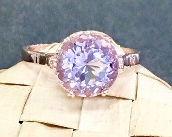 Edwardian inspired 14kt Rold Gold ring pink Amethyst ring