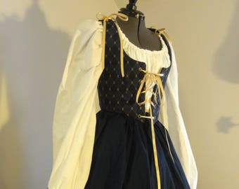 Renaissance Wench dress - blue, complete outfit: bodice, skirt, chemise, ready to ship