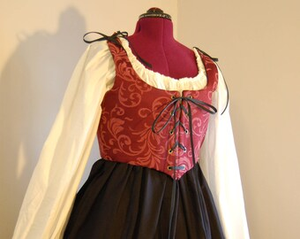 Ready to Ship Renaissance Wench dress - Burgundy and black, complete outfit: bodice, skirt, chemise set