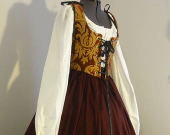 Renaissance Wench dress - burgundy with gold, complete outfit: bodice, skirt, chemise, ready to ship