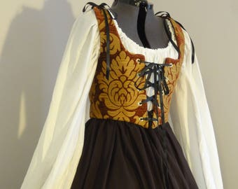 Renaissance Wench dress - Burgundy, Gold, Brown, complete outfit: bodice, skirt, chemise, ready to ship