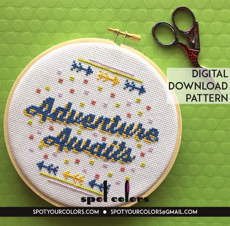 Adventure Awaits Counted Cross Stitch Pattern DOWNLOAD image 0