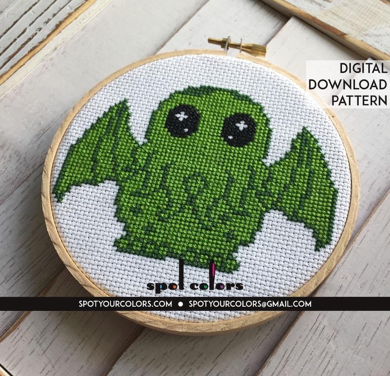 Cute Cthulhu Counted Cross Stitch Pattern DIGITAL Download image 0
