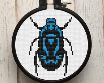 Beetle Bug Counted Cross Stitch PATTERN DIGITAL DOWNLOAD Beginner