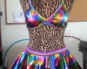 Metallic Rainbow Vinyl skirt and bra set rave outfit burning man festival edc