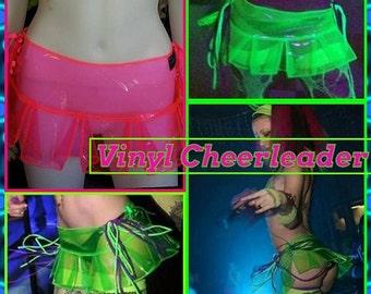 UV Vinyl Cheerleader Skirt rave outfit burning man festival edc see through transparent clear neon