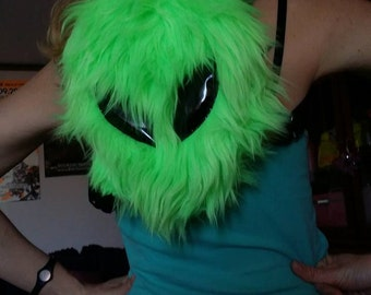 Mini Alien UV Fur backpack bag festival burning man edc rave outfit costume neon uv