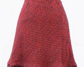 6ff6a7071d074d Rote und schwarze Lurex-Garn Tweed schräg geschnittenem kurzen Rock